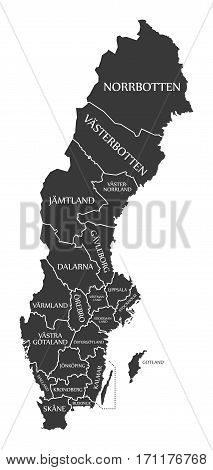 Sweden Map labelled black illustration mainland silhouette