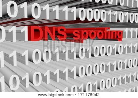 dns spoofing as a binary code 3D illustration