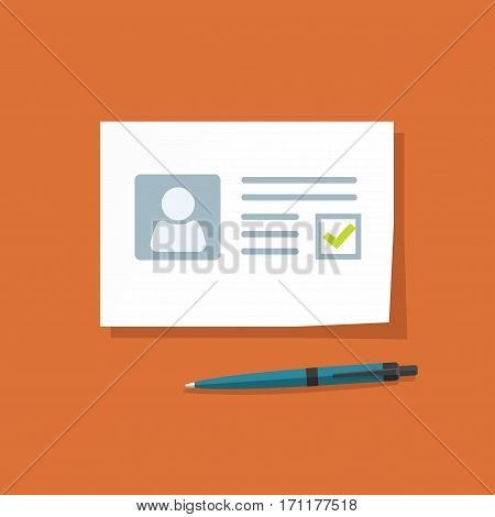 Document with approved checkmark vector illustration, personal data doc with passed checkbox, paper sheet official application, blank isolated