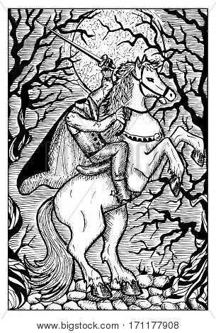 Headless horseman in the full moon night. Fantasy creatures collection. Hand drawn vector illustration. Engraved line art drawing, black and white doodle.