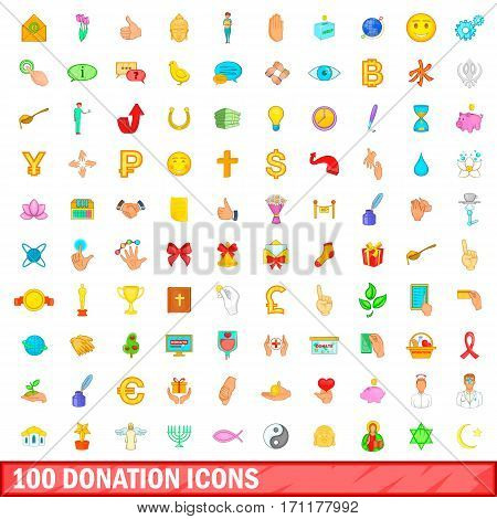 100 donation icons set in cartoon style for any design vector illustration
