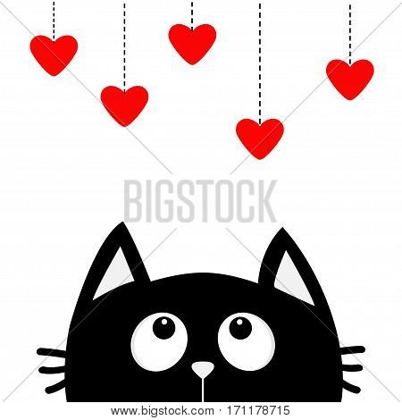 Black cat looking up to hanging red hearts. Dash line. Heart set Cute cartoon character. Kawaii animal. Love Greeting card. Happy Valentines Day. Flat design style. White background. Isolated. Vector