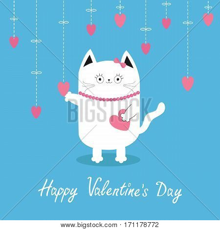 Happy Valentines Day. White cat Hanging pink hearts. Dash line. Heart set Cute cartoon character. Kawaii animal. Love Greeting card. Flat design style. Blue background. Isolated Vector