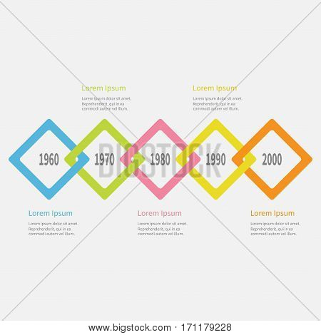 Five step Timeline Infographic. Colorful big rhombus square segment. Template. Flat design. White background. Isolated. Vector illustration