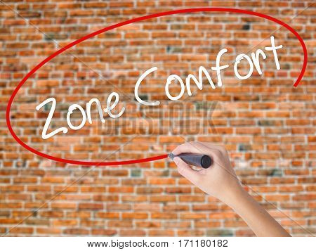 Woman Hand Writing Zone Comfort With Black Marker On Visual Screen