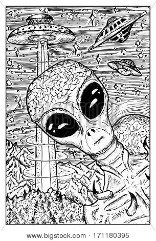Alien and UFO concept. Fantasy creatures collection. Hand drawn vector illustration. Engraved line art drawing, black and white doodle