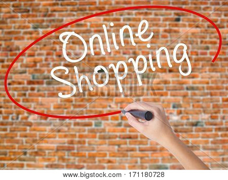 Woman Hand Writing Online Shopping With Black Marker On Visual Screen