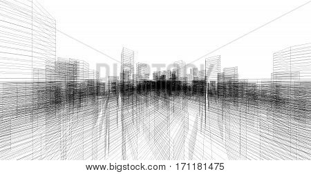 Perspective 3D render of building wireframe structure.
