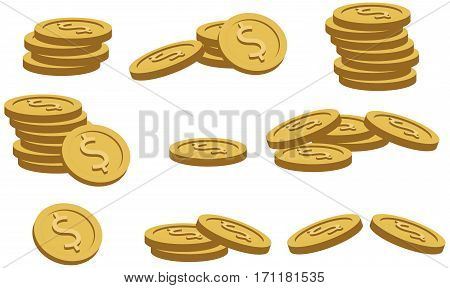 Collection of gold coins. Bunch of gold money coins on white background. Vector illustration