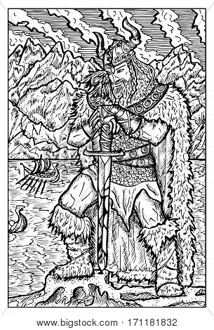Viking or Sea king. Fantasy creatures collection. Hand drawn vector illustration. Engraved line art drawing, black and white doodle
