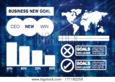 Graphic image of business presentation with charts and map against glowing blue background