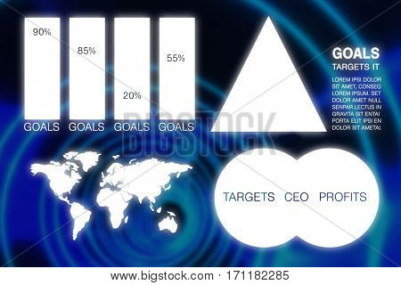 Graphic image of business presentation with charts and map against blue spiral with bright light