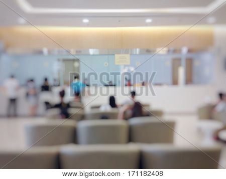 Blurred background : Waiting zone seat row in hospital building