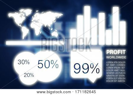 Graphic image of business presentation with charts and map against abstract technology interface
