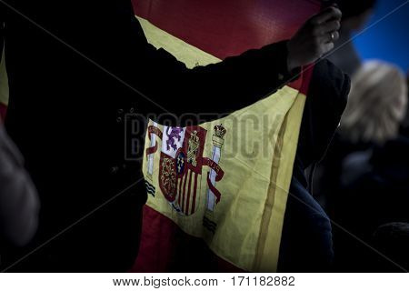 VALENCIA, SPAIN - FEBRUARY 12: Spanish flag during Hockey World League Round 2 Final match between Spain and Poland at Betero Stadium on February 12, 2017 in Valencia, Spain