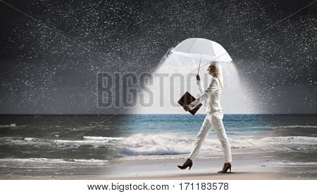 Businesswoman with white umbrella . Mixed media