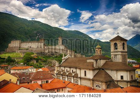 Collegiate Church And Castelgrande Castle In Bellinzona, Ticino, Switzerland