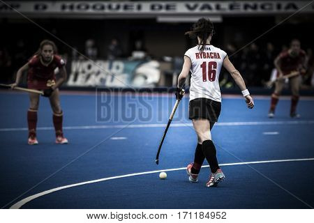 VALENCIA, SPAIN - FEBRUARY 12: during Hockey World League Round 2 Final match between Spain and Poland at Betero Stadium on February 12, 2017 in Valencia, Spain
