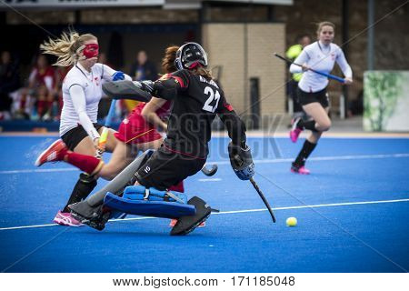VALENCIA, SPAIN - FEBRUARY 12: Players during Hockey World League Round 2 Final match between Spain and Poland at Betero Stadium on February 12, 2017 in Valencia, Spain