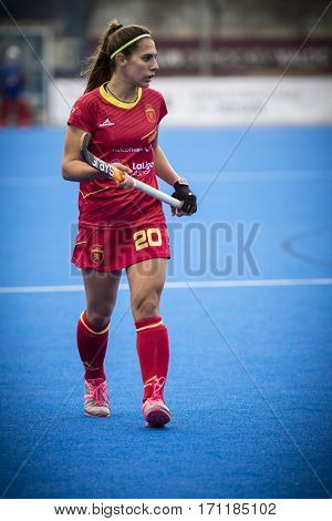 VALENCIA, SPAIN - FEBRUARY 12: Xantal Gine during Hockey World League Round 2 Final match between Spain and Poland at Betero Stadium on February 12, 2017 in Valencia, Spain