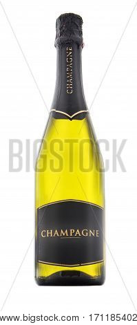 Closed bottle of champagne isolated on white background
