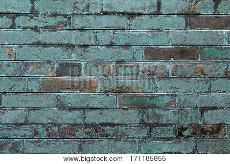 Photo of Aged Brick Texture. Retro Brick Wall Background Aged by Weather