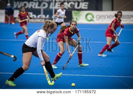 VALENCIA, SPAIN - FEBRUARY 12: Szczurek with ball during Hockey World League Round 2 Final match between Spain and Poland at Betero Stadium on February 12, 2017 in Valencia, Spain