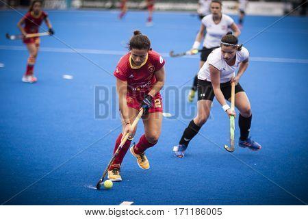 VALENCIA, SPAIN - FEBRUARY 12: (L) Gutierrez (R) Zagajska during Hockey World League Round 2 Final match between Spain and Poland at Betero Stadium on February 12, 2017 in Valencia, Spain