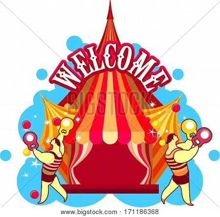 vector illustration of a circus tent with acrobats and circus actors strong men on a white background