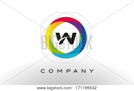 W Letter Logo with Rainbow Circle Design. Colorful Rounded Circular Letter Design