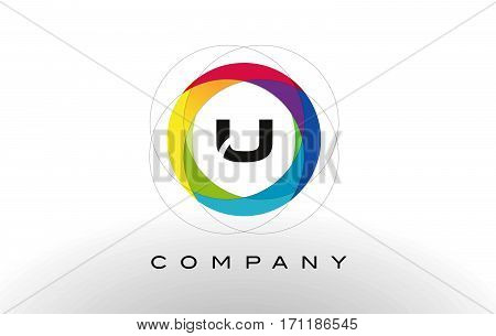 U Letter Logo with Rainbow Circle Design. Colorful Rounded Circular Letter Design