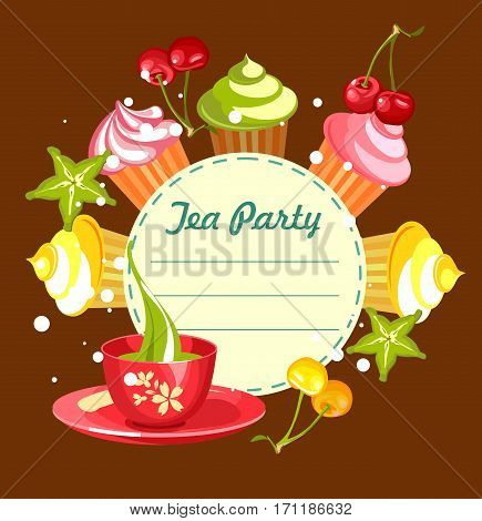 Vector illustration of sweets cupcakes with fresh berries cherry cannons around the circular blank forms for menu prompts with a cup of green tea