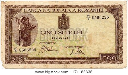 Old Romanian banknote 500 lei 1941. Isolated on a white background. Currently not used.