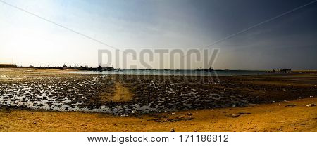 Panorama of Berbera port and beach with boats Somalia