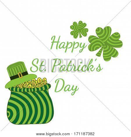 Greeting card for Happy Patrick day with striped clover sack with chinks and hat. Can be used for celebrate card invitation posters placards banners.