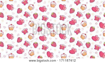 romantic seamless pattern with hand drawn cake, heart, strawberry and butterfly