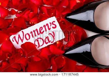 Petals near Women's Day card. Footwear, greeting paper and petals. Traditional spring holiday.