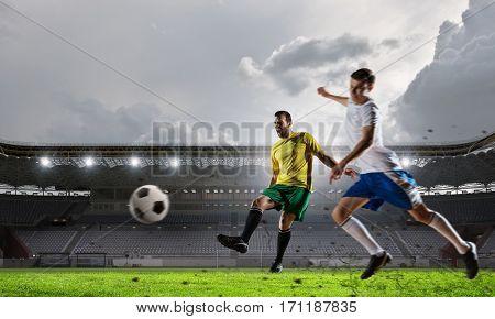 Hot moments of soccer match . Mixed media