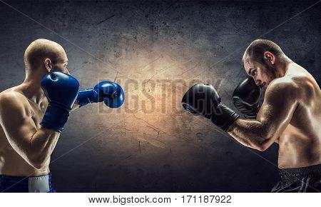 Box fighters trainning. Mixed media . Mixed media