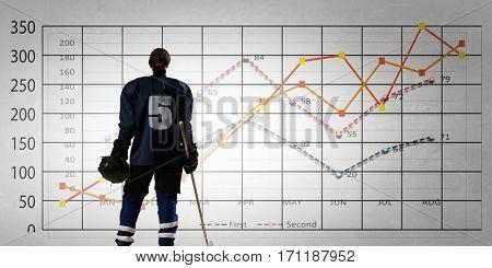 Hockey player and dynamics graph. Mixed media . Mixed media