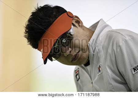 Rio Brazil - august 10 2016: JIN Jongoh (KOR) during shooting 50m Pistol Men Shooting at Olympic Games 2016 in Olympic Shooting Centre Deodoro