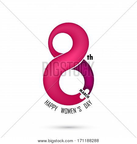 Creative 8 March logo vector design with international women's day icon.Women's day symbol.Minimalistic design for international women's day concept.Vector illustration