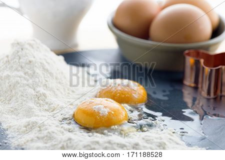 food background of eggs flour and milk focus on the foreground ideal for recipe which contains batter