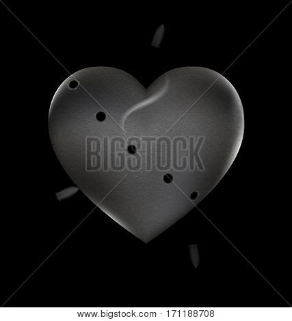 black background and the large stone wounded heart-stone with traces of shots and bullets