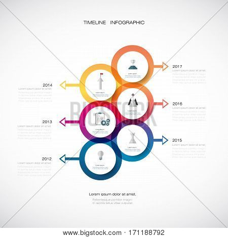 Vector infographics timeline design template with 3D paper label, integrated circles background. Blank space for content, business, infographic, digital network, flowchart, process diagram, time line