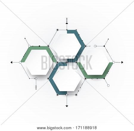 Vector molecule with 3D paper label integrated Hexagon background. Blank space for content business infographic diagramdigital network flowchart. Social network connection technology concept