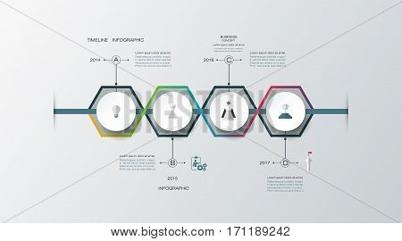 Vector infographics timeline design template with 3D paper label, integrated circles for 4 steps process. Blank space for content, business, infographic, diagram, flowchart, time line, infograph