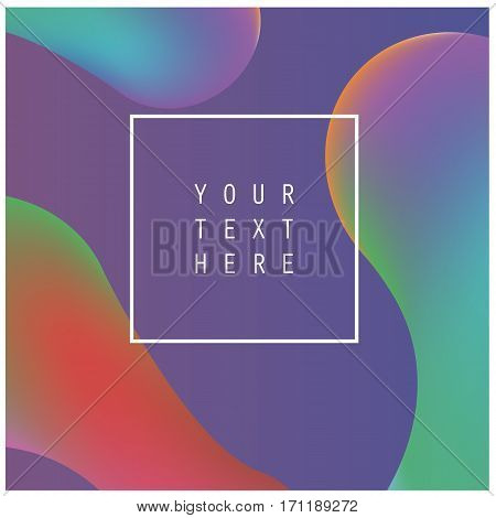 Abstract fluid colors background poster or card. Vector template. Rainbow Background with Bubbles Shapes. Colorful shapes layout.