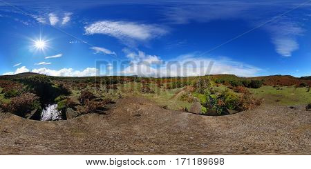 360° spherical panorama: standing on a bridge over a levada on an open-range cattle country on the paul da serra tableland, Madeira, Portugal.