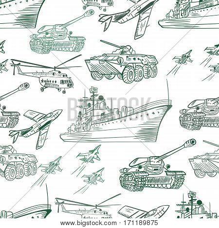 Seamless army texture with vehicle sketch icons on white background